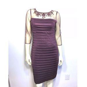 Adrianna Papell Maroon Burgundy Tiered Dress